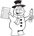 Cartoon snowman student vector