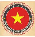 Vintage label cards of vietnam flag vector
