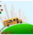 School bus buildings vector