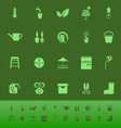 Home garden color icons on green backgroundai vector