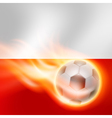 Burning football on poland flag background vector