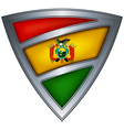 Steel shield with flag bolivia vector