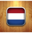 Rounded square dutch flag icon on wood texture vector