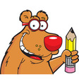 Cartoon bear with a pencil vector