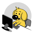 Smart dog with computer vector