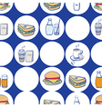 Lunch breakfast and fast food seamless pattern vector