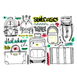 Black and white set with bags for travel text vector