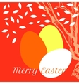 Easter eggs on background with tree and leaves vector