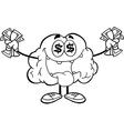 Cartoon brain activity drawings vector