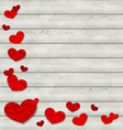 Set crumpled paper hearts on wooden background vector
