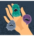 Background with little angry viruses and hand vector