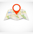 Navigation map with red pin vector