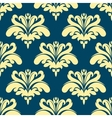 Blue and yellow damask seamless pattern vector