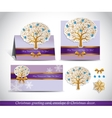 Greeting cards with golden ornate winter tree vector