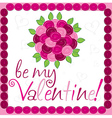 Rose bouquet valentines day card in format vector