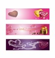 Valentine love heart horizontal banner vector