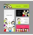 Set of business cards design with party girls vector