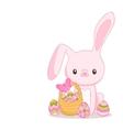 Happy easter cartoon cute bunny and eggs holiday vector