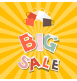 Big sale paper title on retro orange - yellow vector