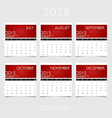 Simple 2015 year calendar july august september vector