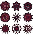 Set of burgundy mandalas vector