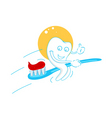 Happy teeth with tooth paste vector