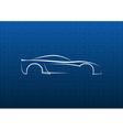 White car logo on blue texture vector