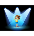 A girl standing in the spotlight vector