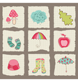 Autumn cute elements on torn paper - for scrapbook vector