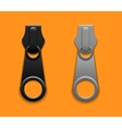 Modern zippers on orange background vector