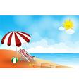 Beach landscape sea sun sky and cloud summer vector
