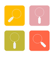 Magnifying glasses flat design square icons set vector