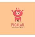 Abstract piggy cute character logo icon concept vector