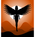 Silhouette of woman-angel vector