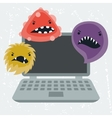 Abstract laptop infected with viruses vector