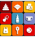 Set of icons on a childrens colored backgroun vector