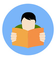 Reading man icon faq concept flat style isolated vector