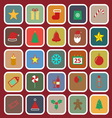 Christmas flat color icons on red background vector