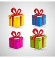Colorful present boxes isolated on white vector