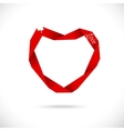 Heart made from red paper ribbon vector
