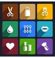 Cosmetics perfume flat icons set 32 vector