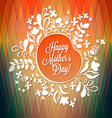 Happy mothers day flowers with geometric pattern vector