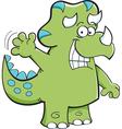 Cartoon triceratops waving vector