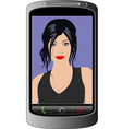 Young woman smartphone call vector