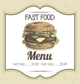 Hand drawn vintage fast food background vector