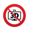 No 3d tv sign icon 3d television set symbol vector