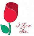I love you single rose card in format vector