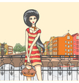 Urban panorama and pretty girl vector