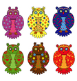 Set of six stylized owls vector