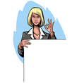 Businesswoman with banner vector